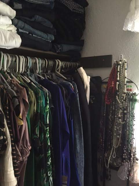 A closet full of clothing