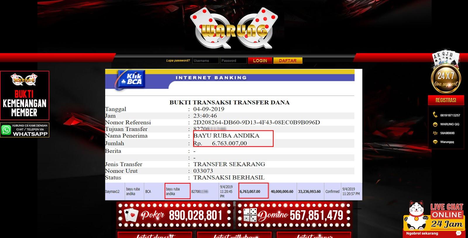 Selamat Kepada Member Setia WARUNGQQ Withdraw RP 6.763.007