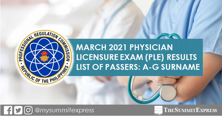 LIST OF PASSERS: A-G March 2021 Physician board exam PLE result