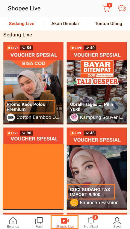 Promo Terbaru Shopee di Halaman Shopee Live Streaming.