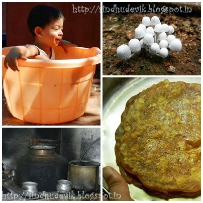 nature, hot water for bathing in 'Bisi Neera hande and Sole Rotti (made of brined raw jackfruit)