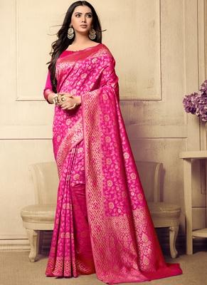 Pink Woven Art Silk Saree