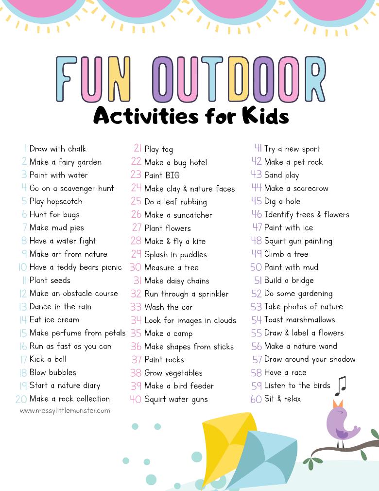fun outdoor activities for kids printable list