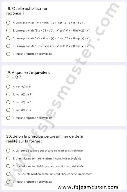 Exemple de Concours Master Sciences de Gestion 2021-2022 - Fsjes Agdal
