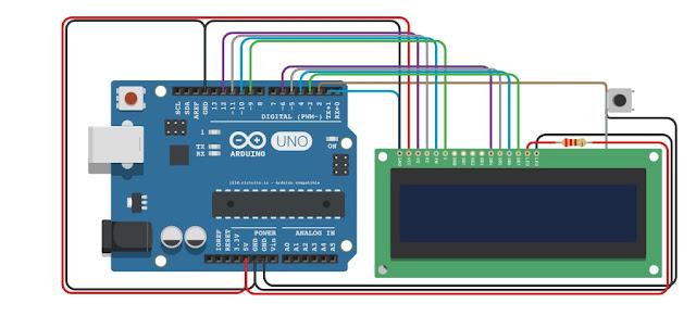 Rangkaian game LCD 16x2 arduino