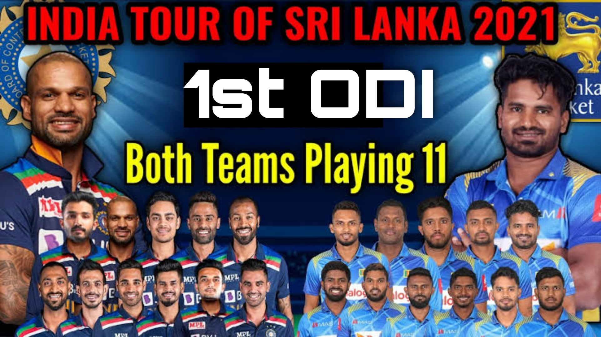 Sri Lanka Vs India 1st ODI Live Streaming | Playing 11