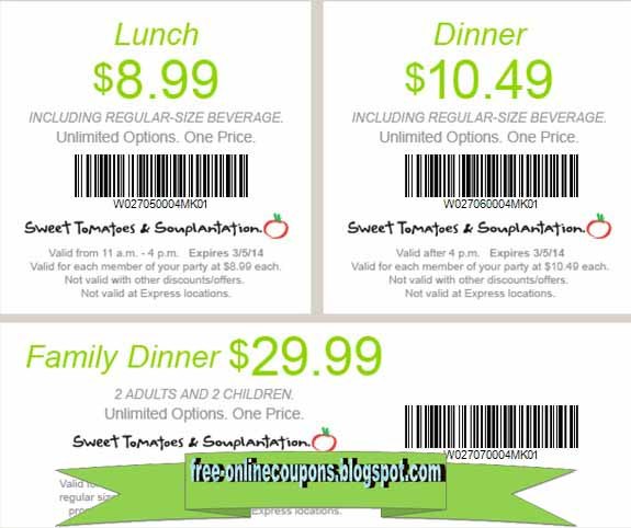 Shopping Tips for Souplantation: 1. A senior discount of 10% off is awarded to folks who are 62 or older. 2. Souplantation Club Veg is a free program that will keep you in the know about current and upcoming promotional offers. 3. Redeem printable promotions at Souplantation & Sweet Tomatoes by showing them to an employee when purchasing your meal.