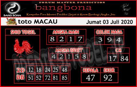 Prediksi Bangbona Toto Macau Jumat 03 Juli 2020