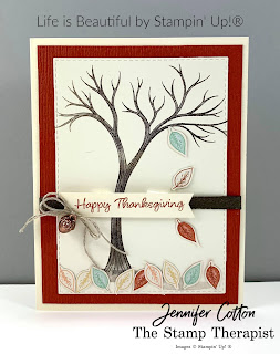 Happy Thanksgiving card using Stampin' Up!®'s Life is Beautiful stamp set plus Banner Year.  The designer paper is Gilded Autumn.  The punch is Banners Pick a Punch. The ribbon is the Early Espresso Faux Suede Ribbon and Linen Thread.  #StampinUp #StampTherapist