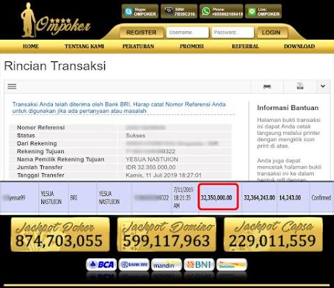 Selamat Kepada Member Setia Ompoker WD Rp 32.350.000