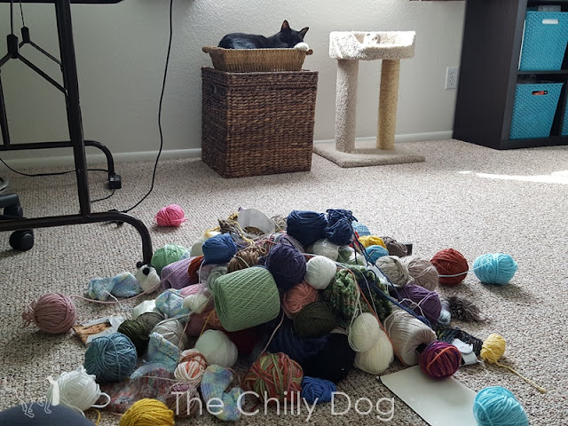 Even the cat avoids tangling with this monstrosity of stash yarn.