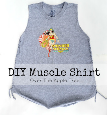 DIY No Sew Muscle Shirt, Ladies Muscle Shirt by Over The Apple Tree