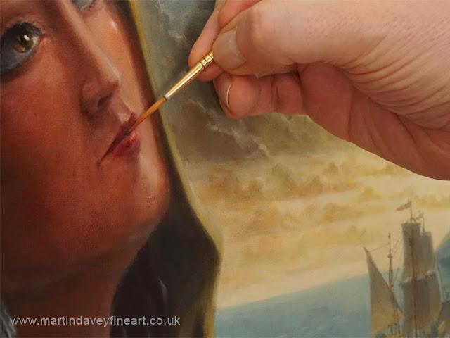 brush paint lips on face WIP art
