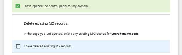 Hapus catatan MX yang ada
