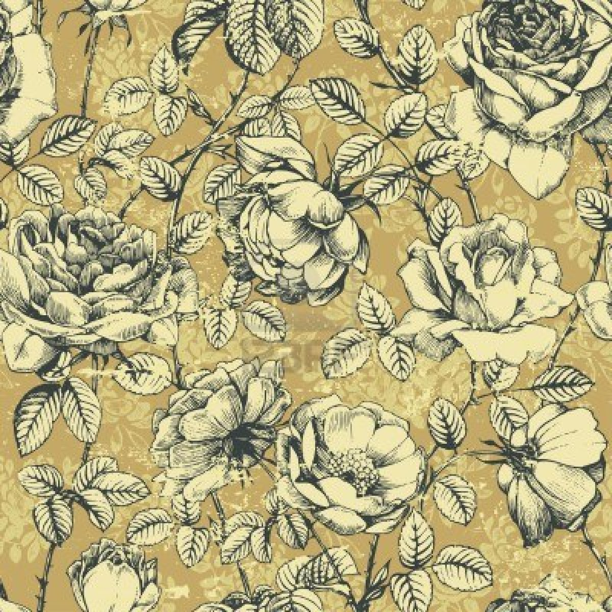 vintage floral patterns 2017 - Grasscloth Wallpaper