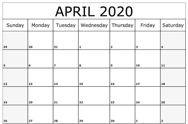 April 2020 Printable Calendar, Free April Calendar 2020, April 2020 Calendar Template