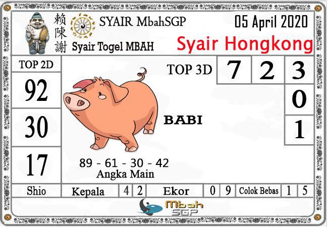 Prediksi Togel Hongkong Minggu 05 April 2020 - Syair Mbah HK