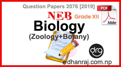 Biology-Botany-Zoology-Grade-12-XII-Question-Paper-2076-2019-Sub-Code-214-B-NEB