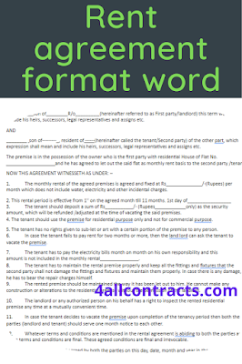 Rent agreement template word