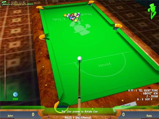 Free Billiards 2008 - Δωρεάν τρισδιάστατο παιχνίδι μπιλιάρδου για Windows