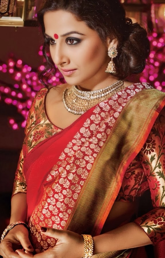 Vidya Balan PhotoShoot In Red Designer Saree