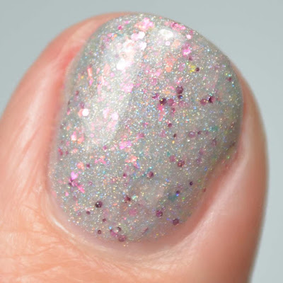 grey holographic nail polish close up swatch