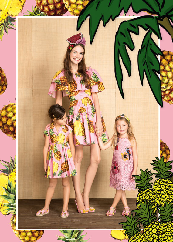 tropical city prints by Dolce & Gabbana, pineapples, summer 2017