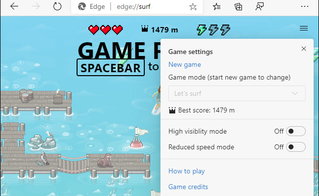إعدادات لعبة متصفح سرية Edge