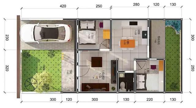 Denah dan Desain Rumah Satu Lantai dengan 2 Kamar