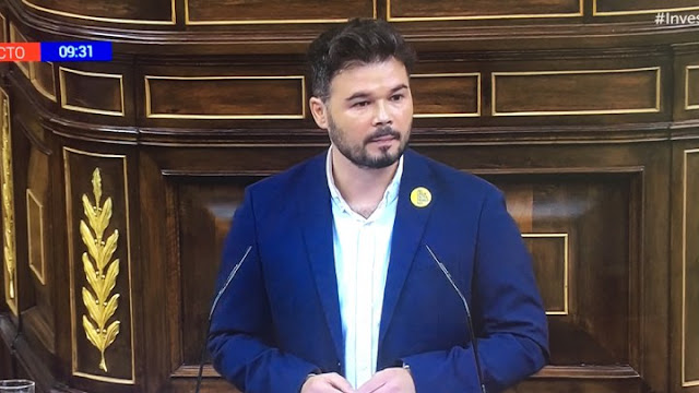 """Rufián a Sánchez ¿Será usted el Pedro Sánchez del """"no es no""""o el  Sánchez del """"no a Iglesias"""""""