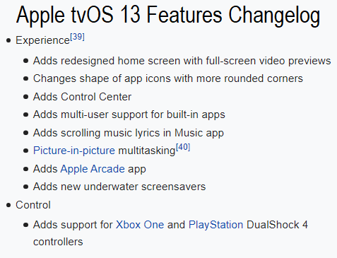 Apple tvOS 13 Features