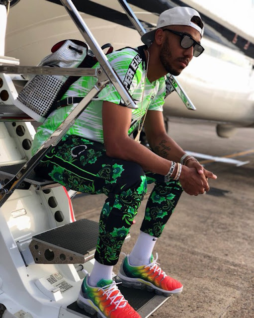 World Cup: Arsenal star Aubameyang looks super cool as he poses in Super Eagles kit (Photos)