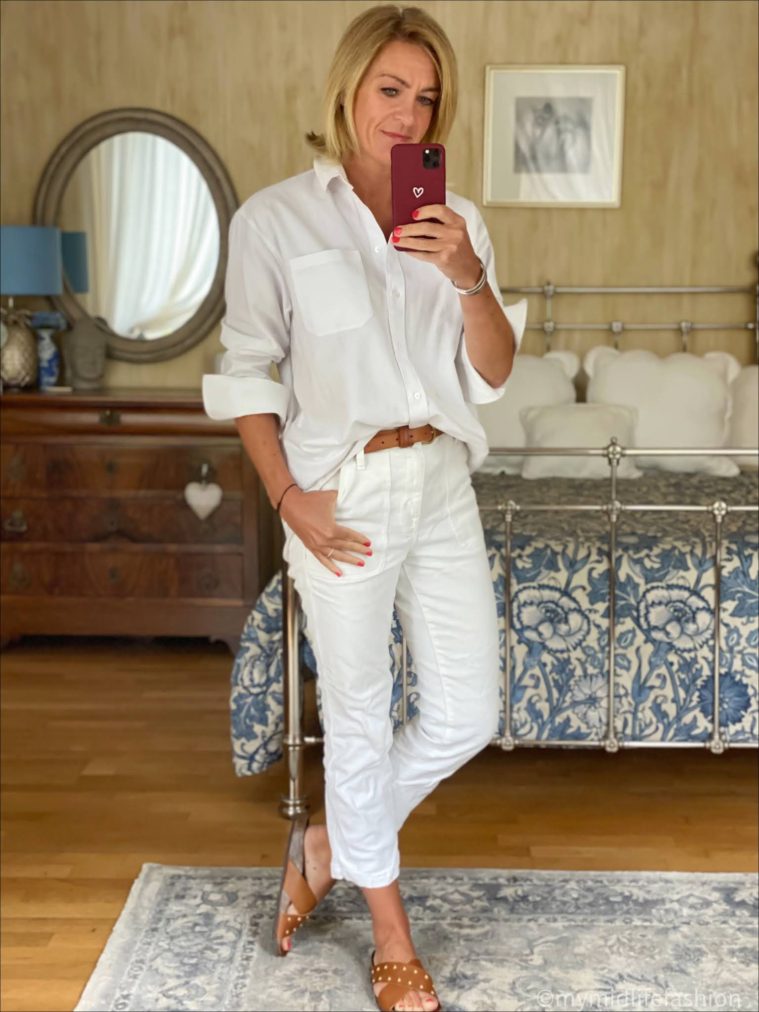 my midlife fashion, an other stories boyfriend shirt, Massimo Dutti leather belt, j crew cropped kick flare jeans, basalt studded slides