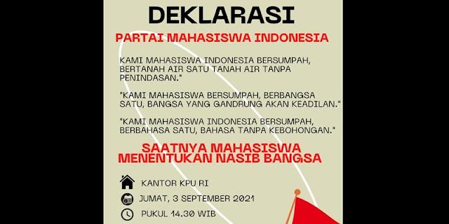 Beredar Undangan Deklarasi Partai Mahasiswa Indonesia di Kantor KPU Besok