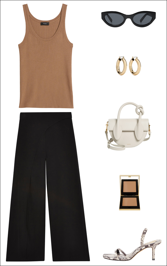 This Easy Neutral Outfit Idea Is Perfect for Summer — Camel Tank Top, Wide-Leg Crop Black Pants, and Snake Print Sandals