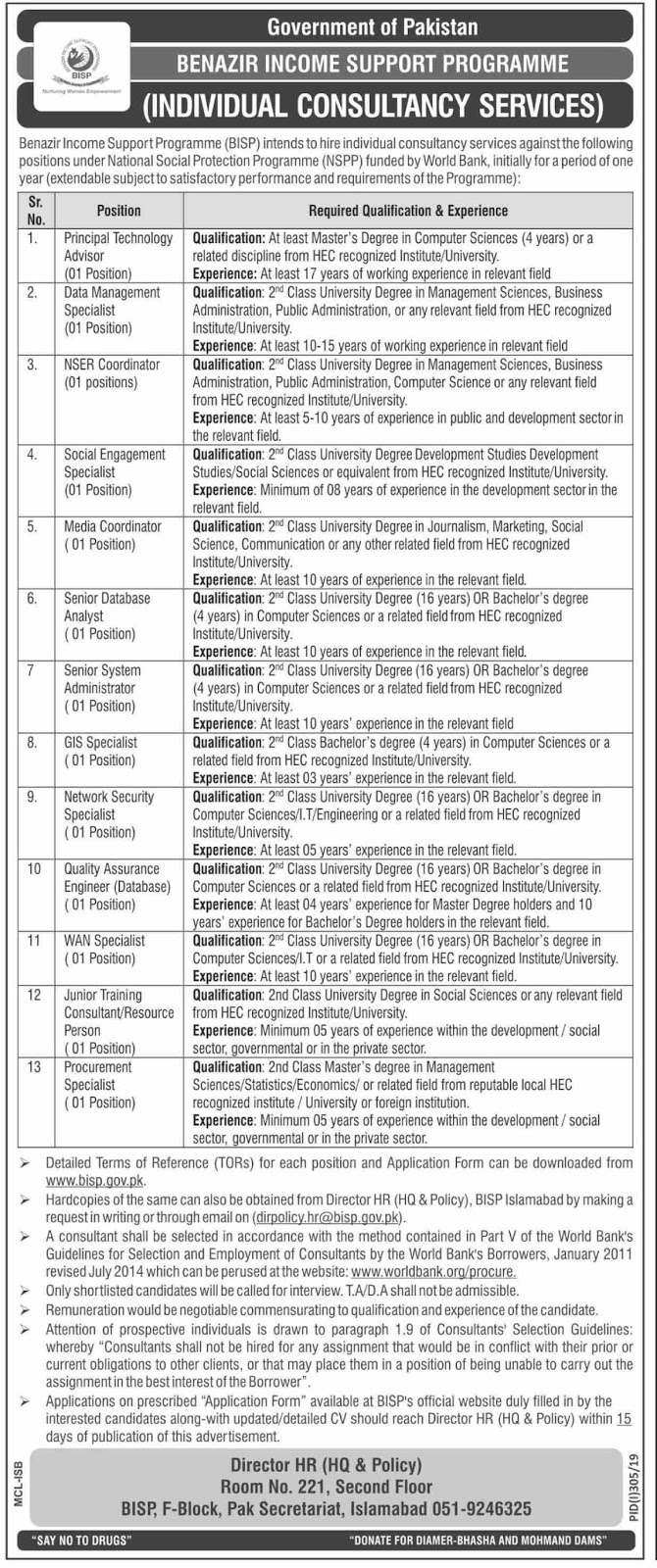 Advertisement for Benazir Income Support Programme Jobs 2019