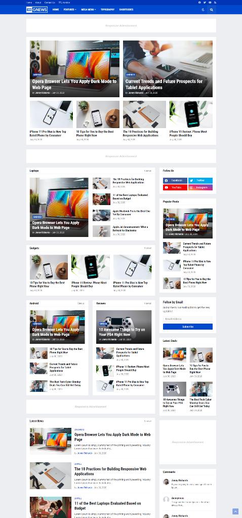 Download GNews - Responsive Magazine Blogger Template Premium