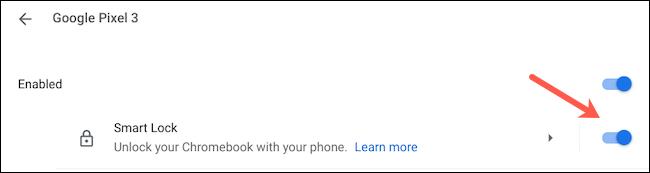 قم بتمكين Smart Lock على Chromebook