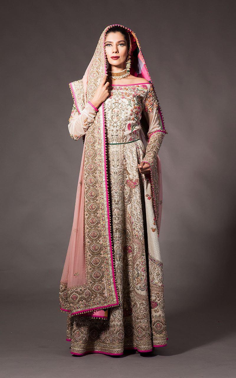 Fahad Hussayn Color Combination Bridal Mehndi Dress