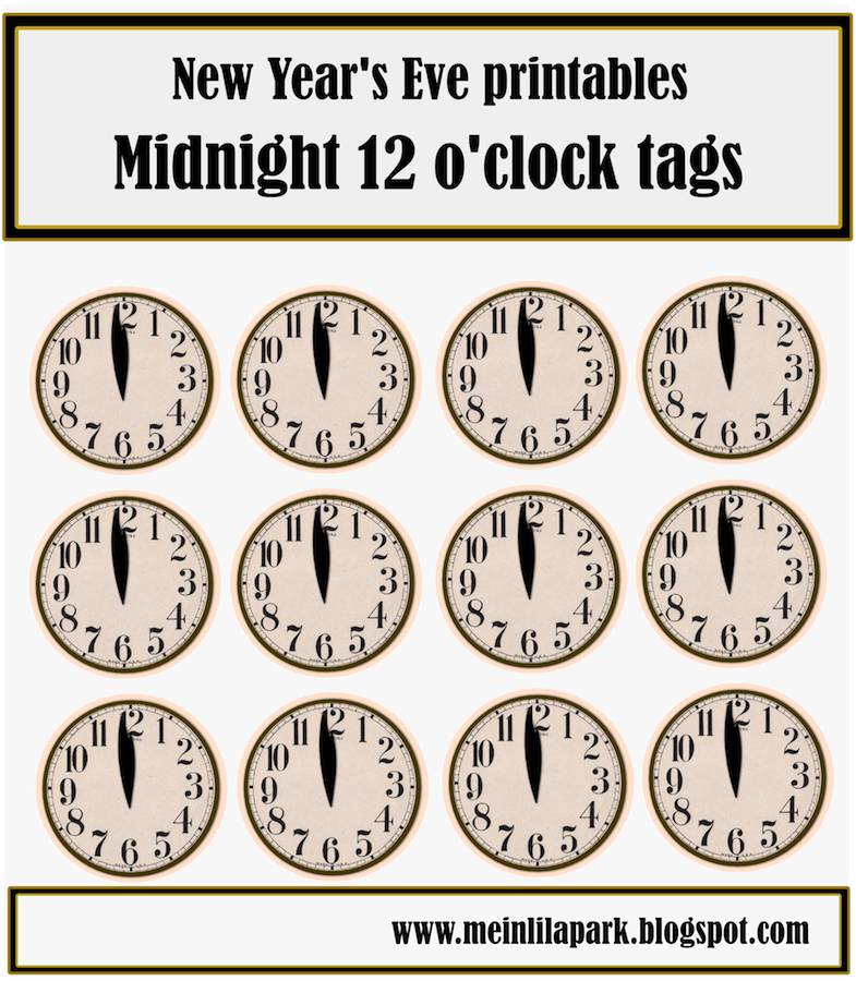 Free Printable New Year S Eve Table Decoration Clock And