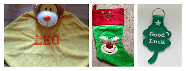 Collage featuring a lion comforter, a christmas stocking and clover keyring, all personalised with embroidery.