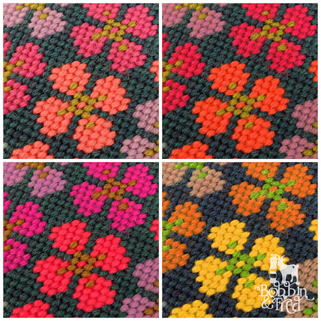 Collage of the same Flower Needlepoint Motif in 4 different Hot n' Spicy Colourways