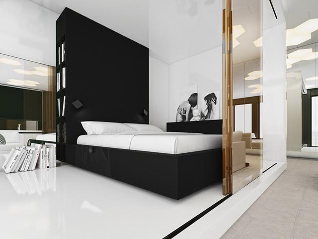 Mẫu phòng ngủ nam màu đen - trắng