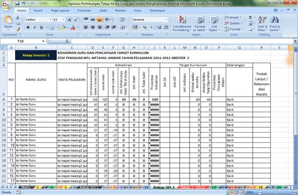 Aplikasi Perhitungan Tatap Muka Guru dan Sistem Penghonoran Format Microsoft Excel