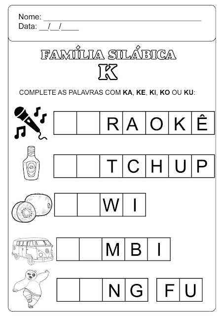 família silábica do k para imprimir