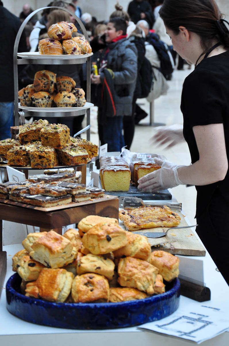 Selection of sweets and cakes, The cafe, Great Court, The British Museum, London, England