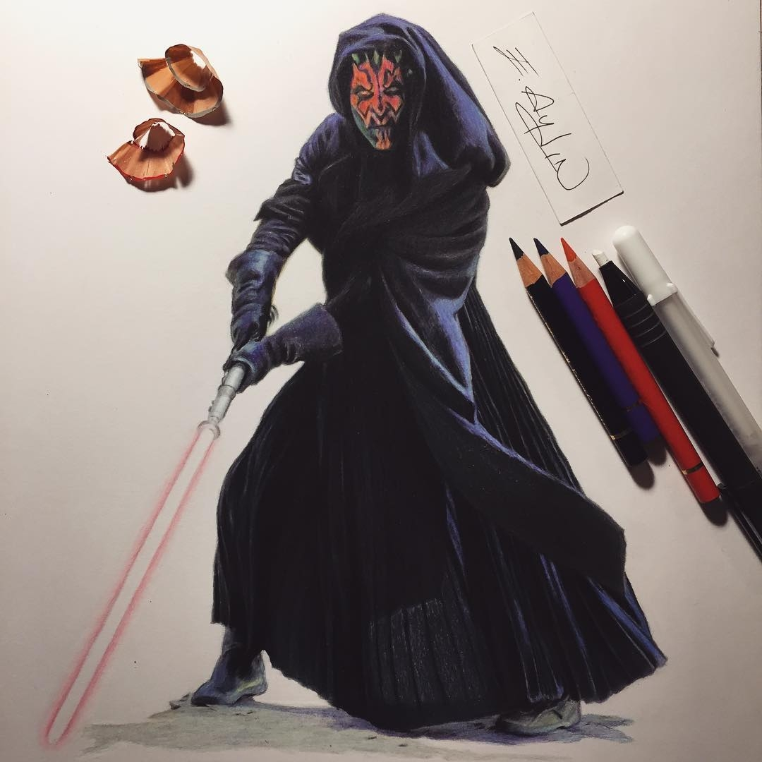 13-Darth-Maul-Star-Wars-Emre-Aydin-Celebrity-Pencil-Drawings-in-Movies-and-TV-www-designstack-co