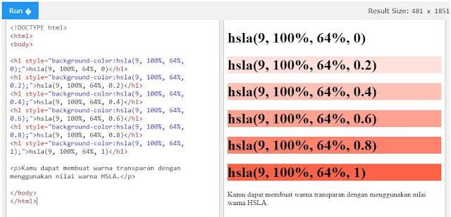 Nilai HSLA pada HTML