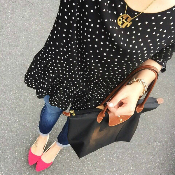 polka dot top, longchamp bag