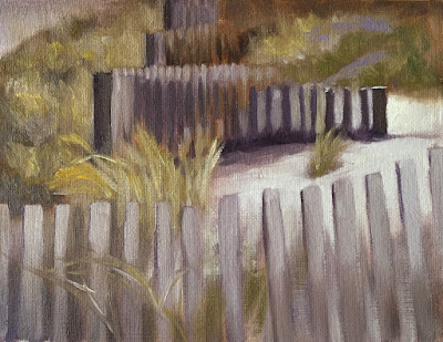 focusing with value study of beach fence Feb-6-2019